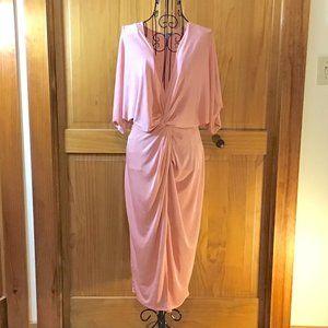 Pink Short Sleeve Plunging Neck Cocktail Dress